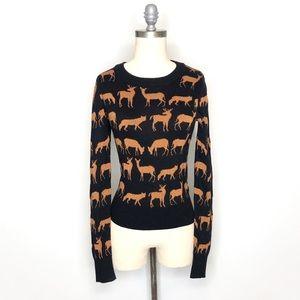 ✨Divided Metallic Deer & Fox Sweater sz 6